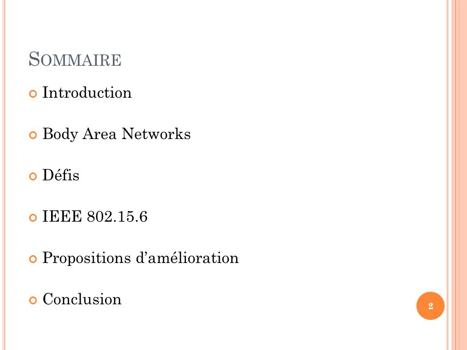 Sommaire Introduction Body Area Networks Défis IEEE 802.15.6
