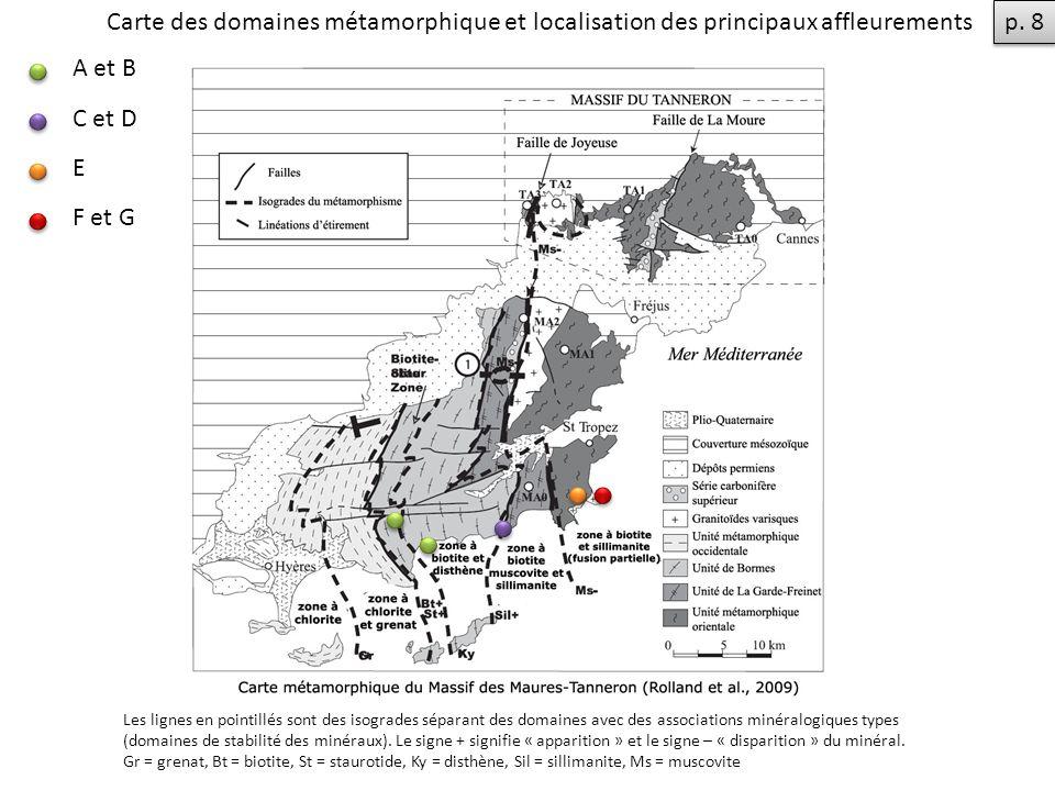 Carte des domaines métamorphique et localisation des principaux affleurements