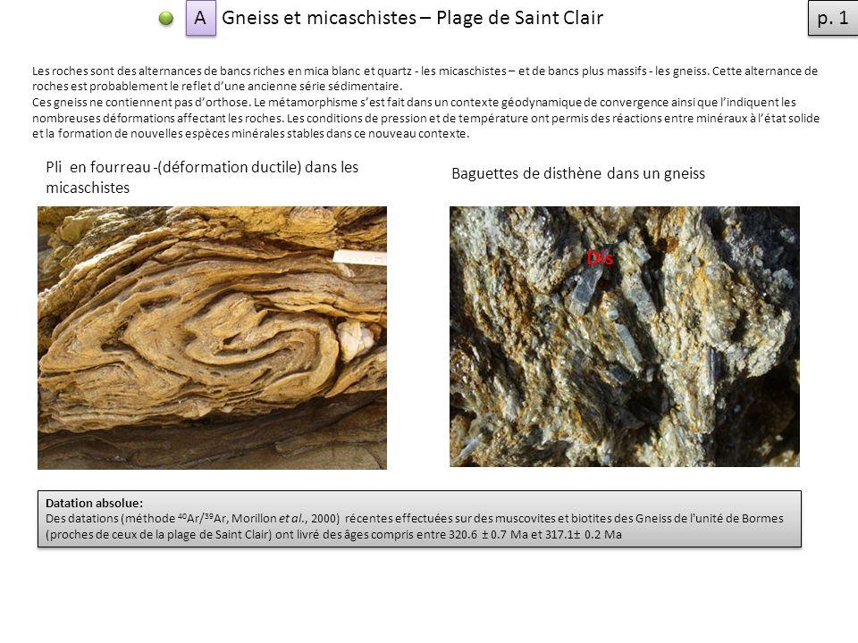 Gneiss et micaschistes – Plage de Saint Clair p. 1
