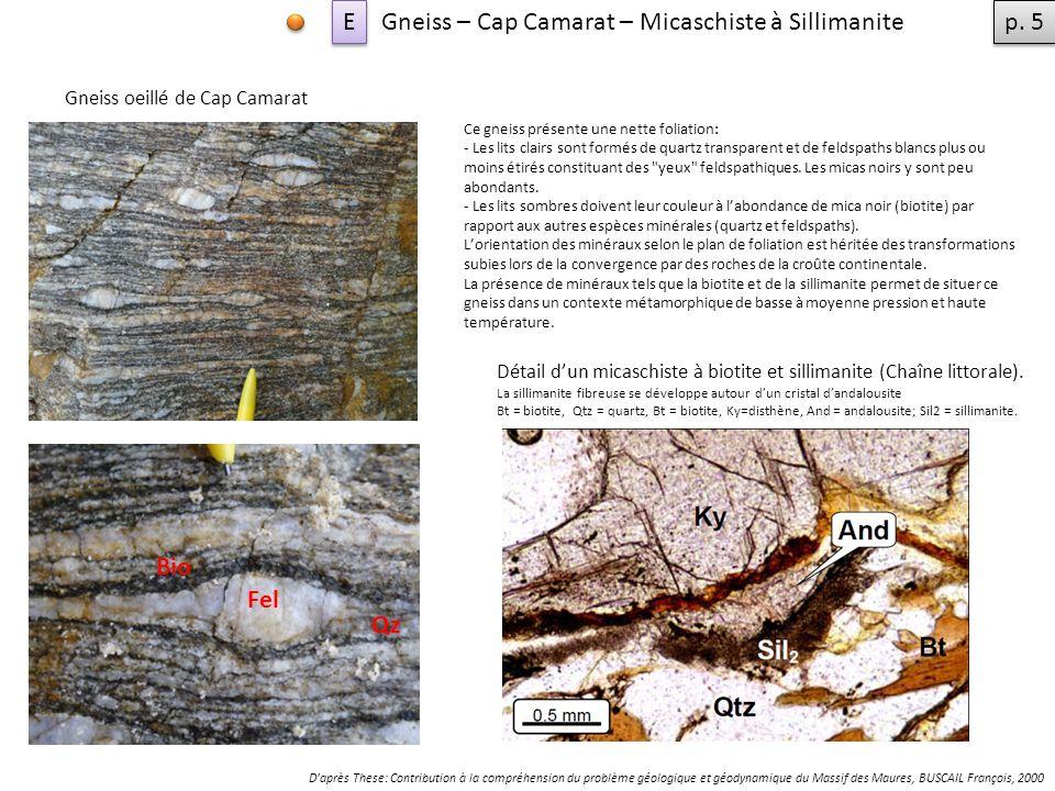 Gneiss – Cap Camarat – Micaschiste à Sillimanite p. 5