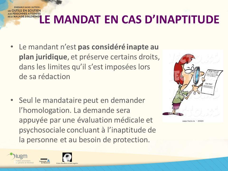 LE MANDAT EN CAS D'INAPTITUDE