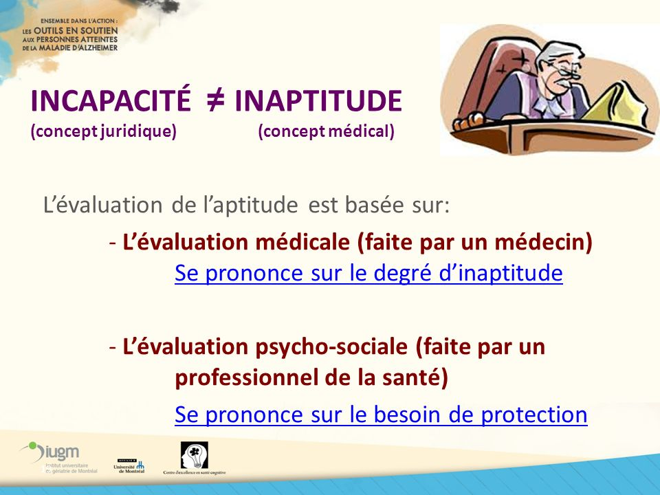 INCAPACITÉ ≠ INAPTITUDE (concept juridique) (concept médical)