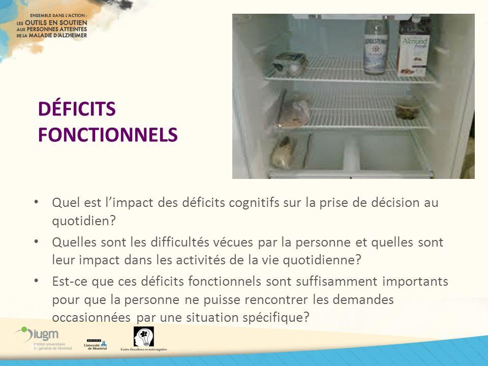DÉFICITS FONCTIONNELS