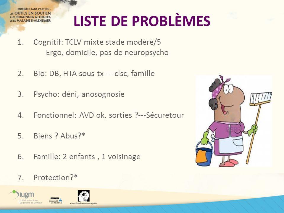 LISTE DE PROBLÈMES Cognitif: TCLV mixte stade modéré/5