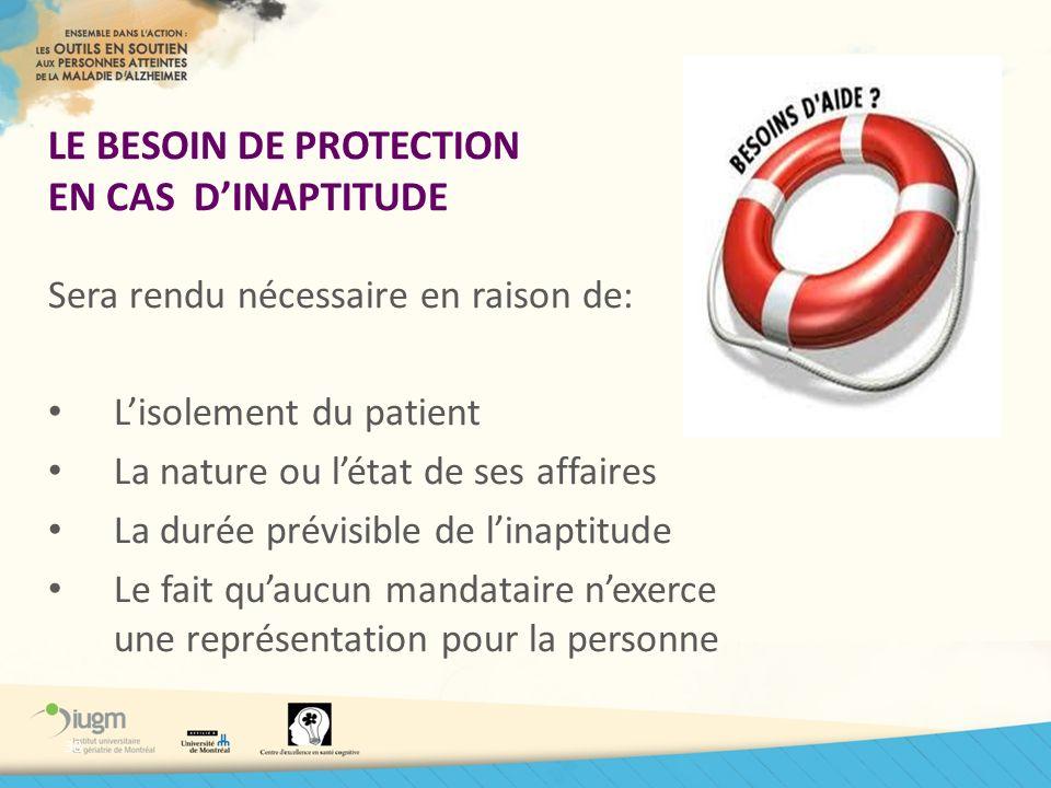 LE BESOIN DE PROTECTION EN CAS D'INAPTITUDE
