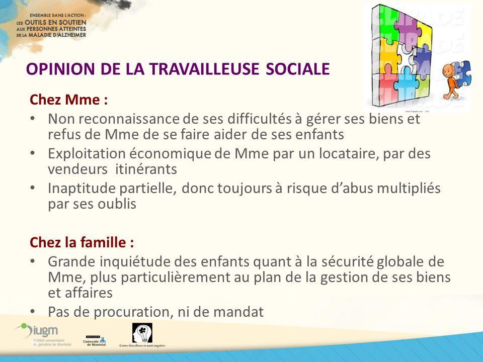 OPINION DE LA TRAVAILLEUSE SOCIALE