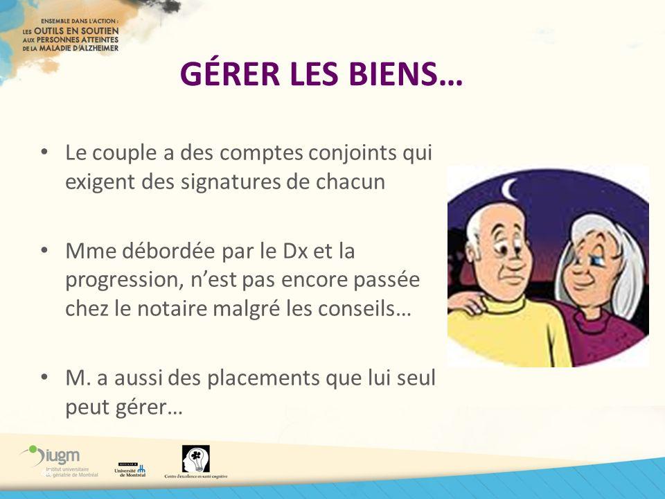 GÉRER LES BIENS… Le couple a des comptes conjoints qui exigent des signatures de chacun.