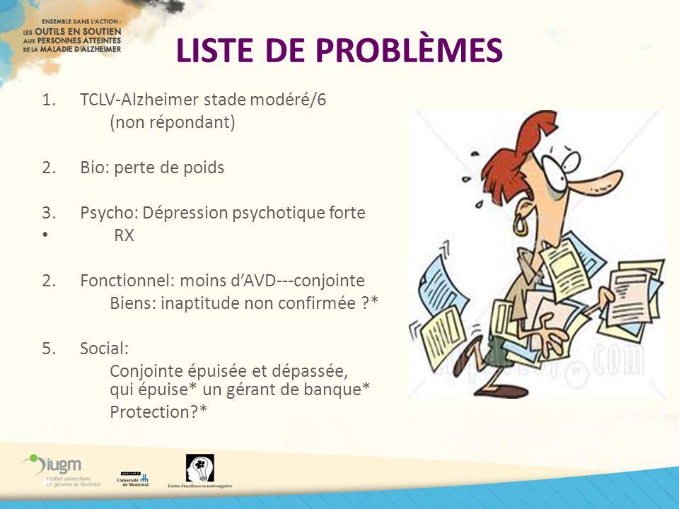 LISTE DE PROBLÈMES TCLV-Alzheimer stade modéré/6 (non répondant)