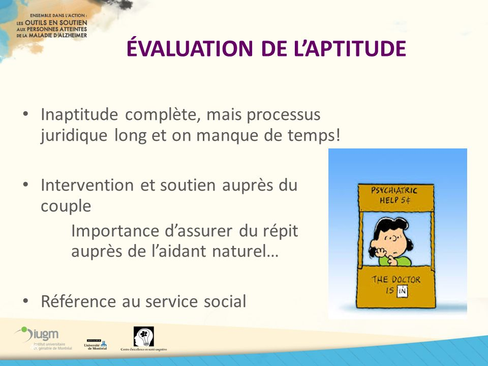 ÉVALUATION DE L'APTITUDE