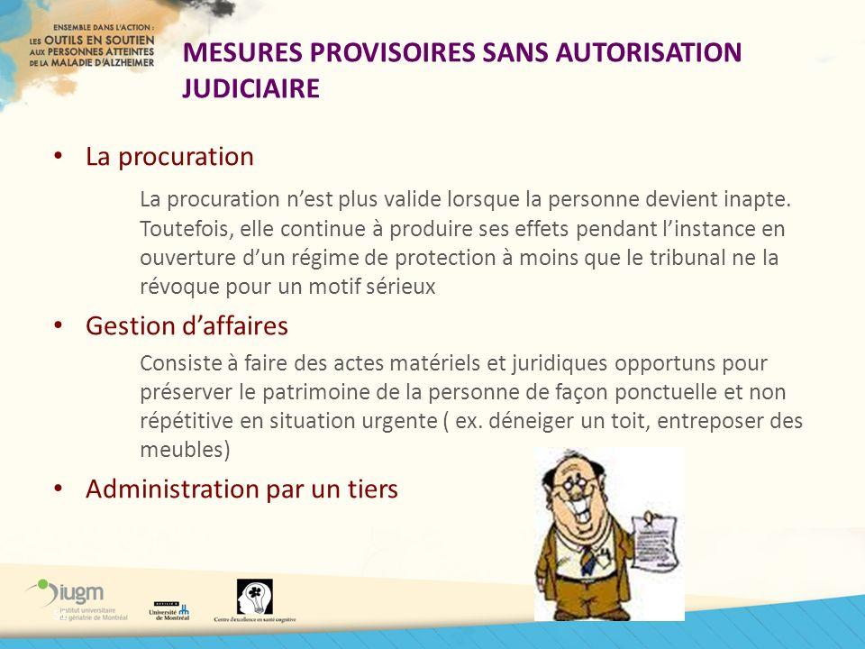 MESURES PROVISOIRES SANS AUTORISATION JUDICIAIRE