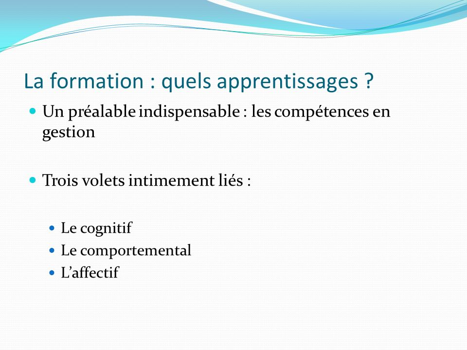 La formation : quels apprentissages