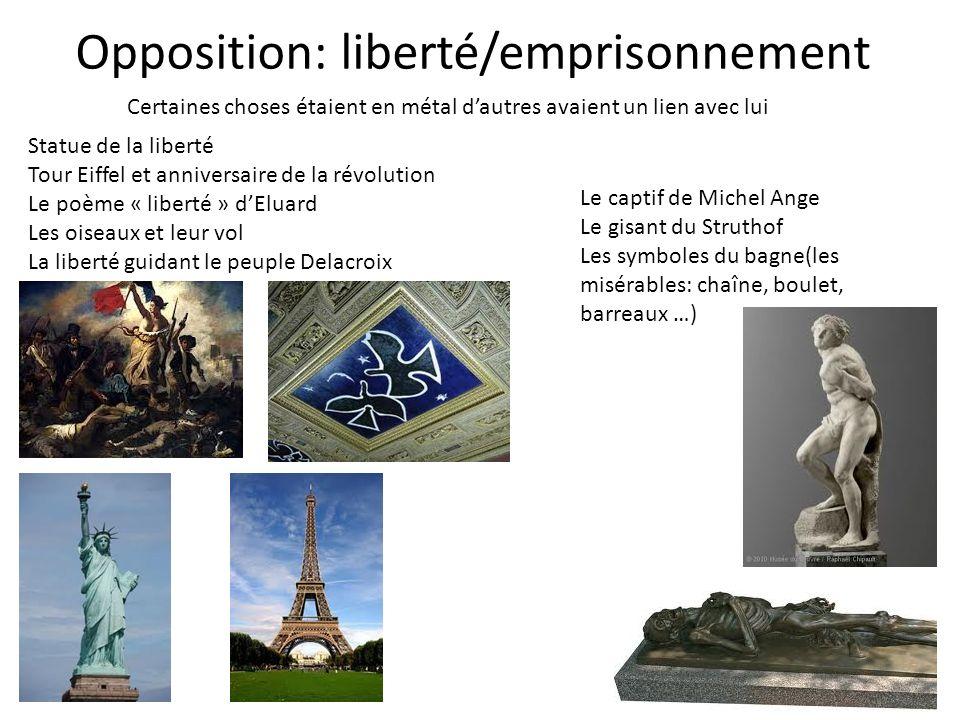 Opposition: liberté/emprisonnement