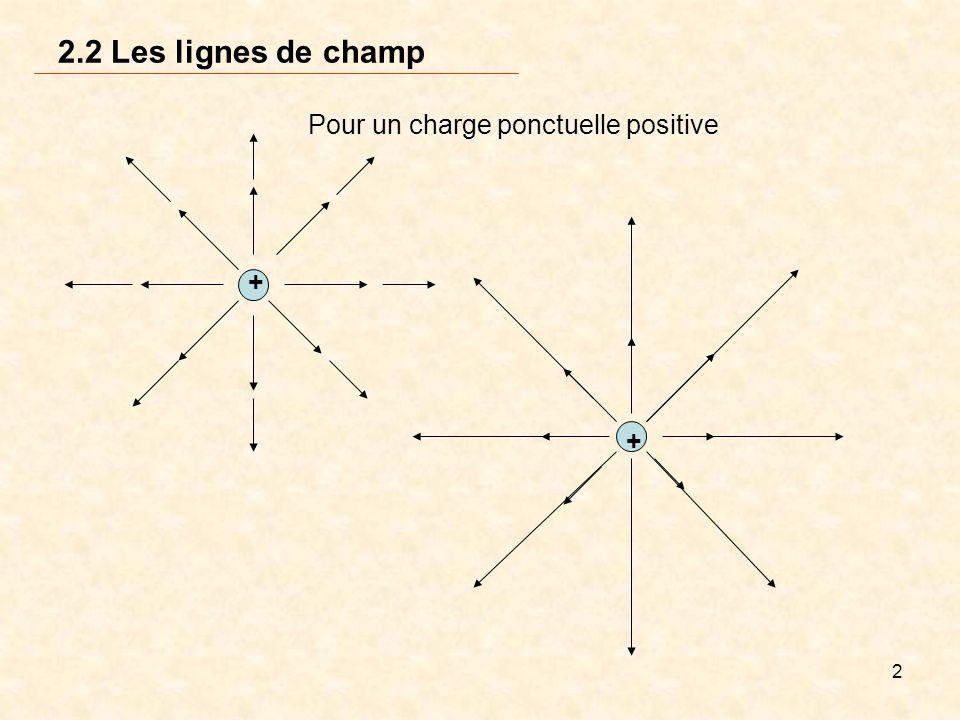 2.2 Les lignes de champ Pour un charge ponctuelle positive +
