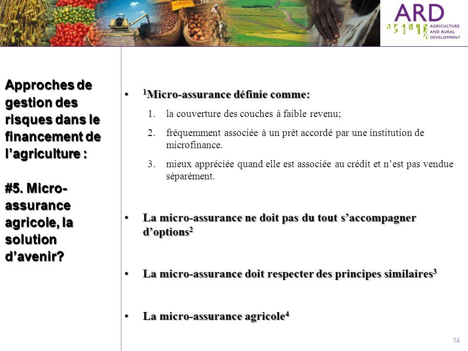 Approches de gestion des risques dans le financement de l'agriculture : #5. Micro-assurance agricole, la solution d'avenir