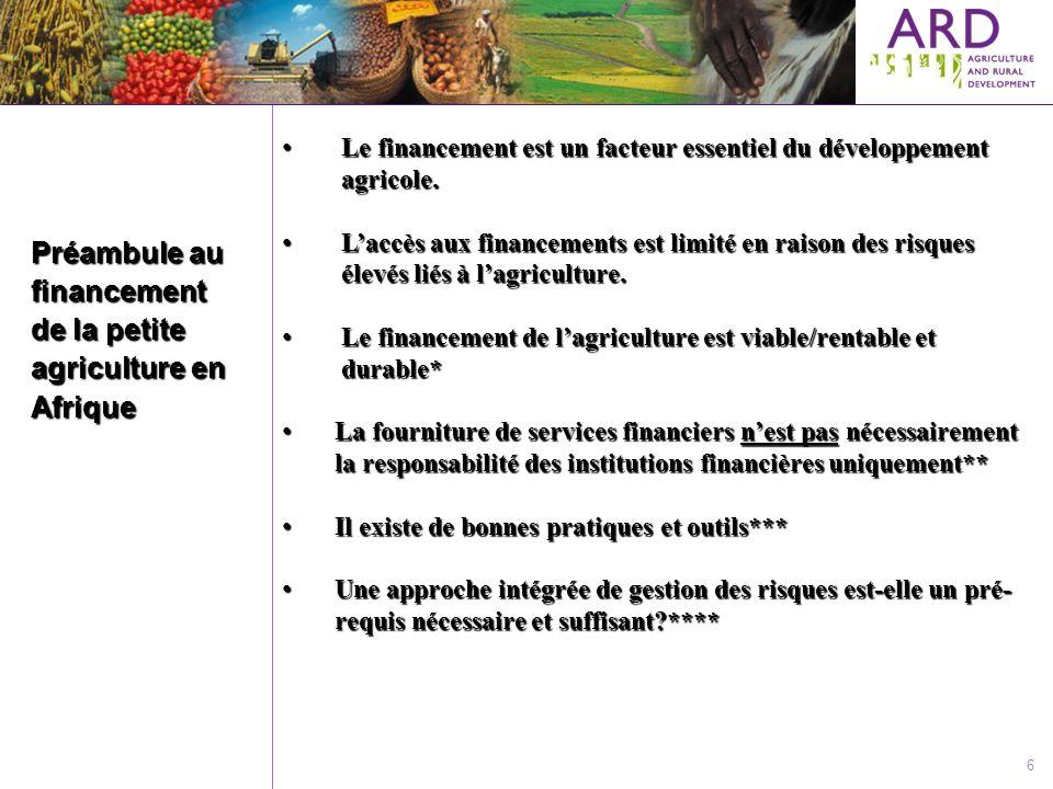 Préambule au financement de la petite agriculture en Afrique