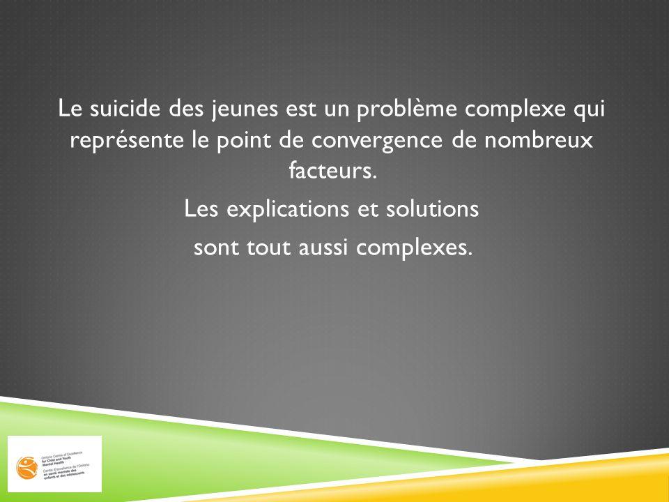 Le suicide des jeunes est un problème complexe qui représente le point de convergence de nombreux facteurs.