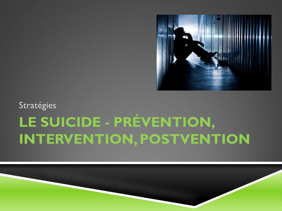 Le suicide - Prévention, intervention, postvention