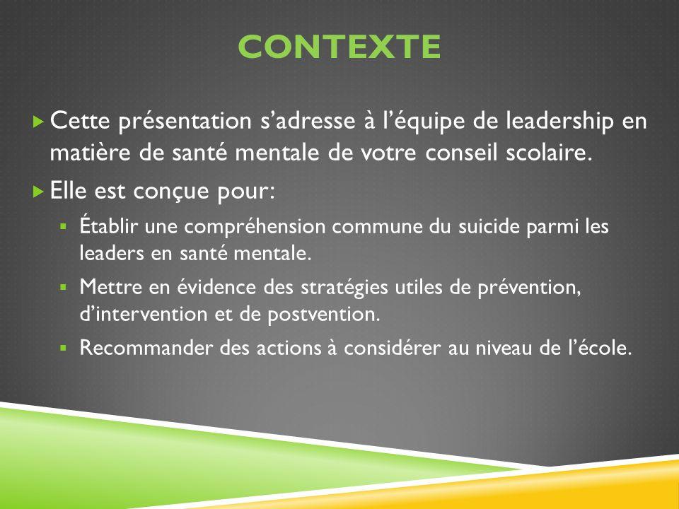 ContextE Cette présentation s'adresse à l'équipe de leadership en matière de santé mentale de votre conseil scolaire.