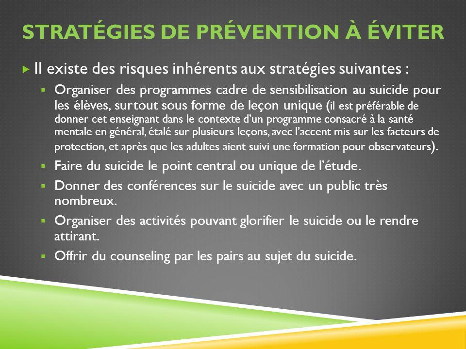 Stratégies de prévention à éviter