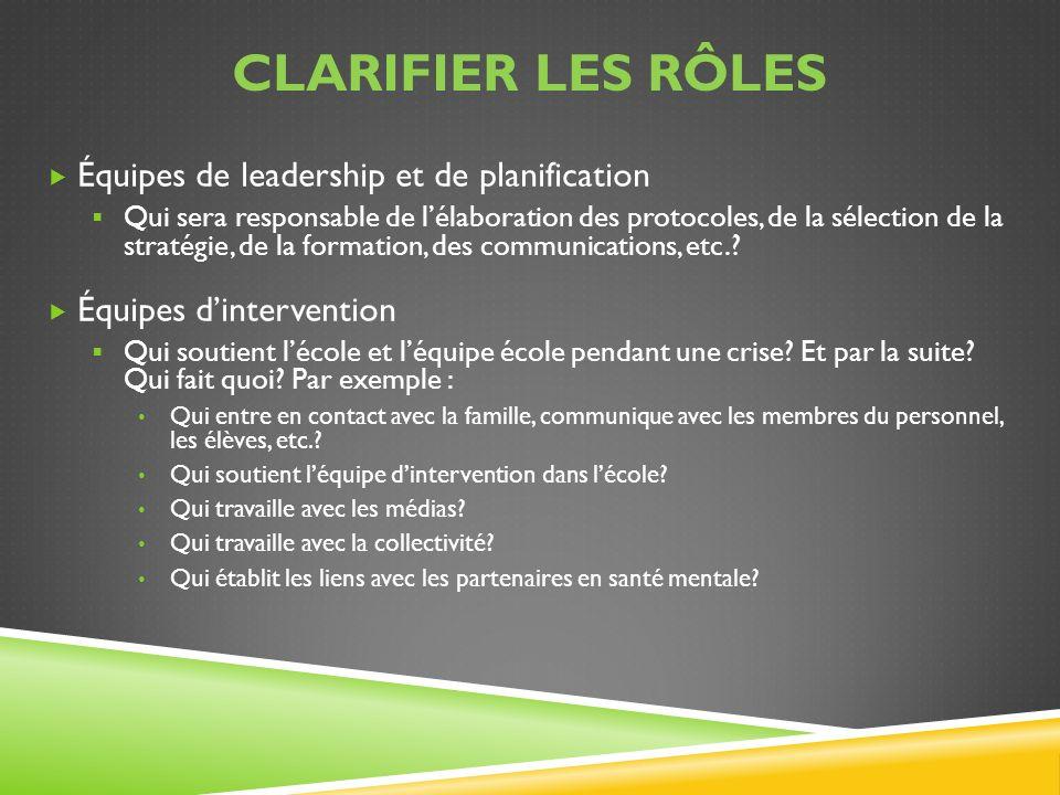 Clarifier les rôles Équipes de leadership et de planification