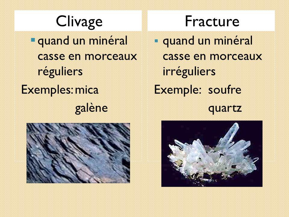 Clivage Fracture quand un minéral casse en morceaux réguliers