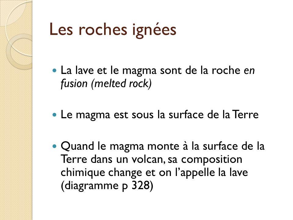 Les roches ignées La lave et le magma sont de la roche en fusion (melted rock) Le magma est sous la surface de la Terre.
