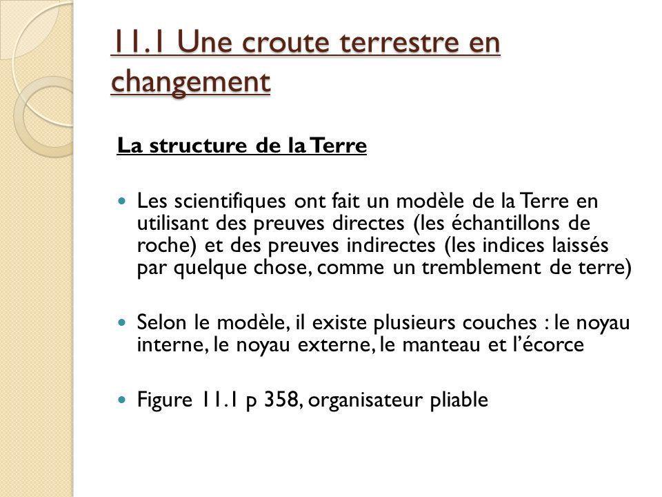 11.1 Une croute terrestre en changement