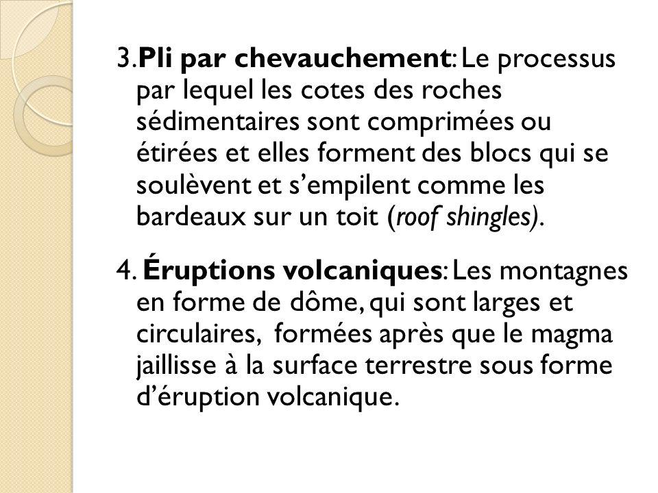 3.Pli par chevauchement: Le processus par lequel les cotes des roches sédimentaires sont comprimées ou étirées et elles forment des blocs qui se soulèvent et s'empilent comme les bardeaux sur un toit (roof shingles).