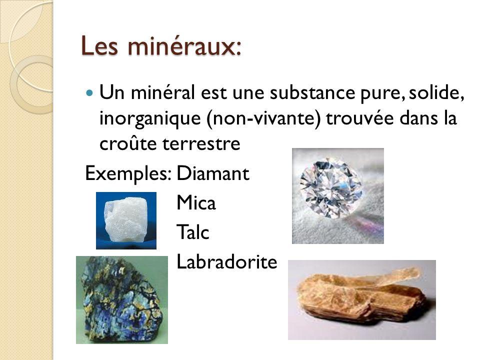 Les minéraux: Un minéral est une substance pure, solide, inorganique (non-vivante) trouvée dans la croûte terrestre.
