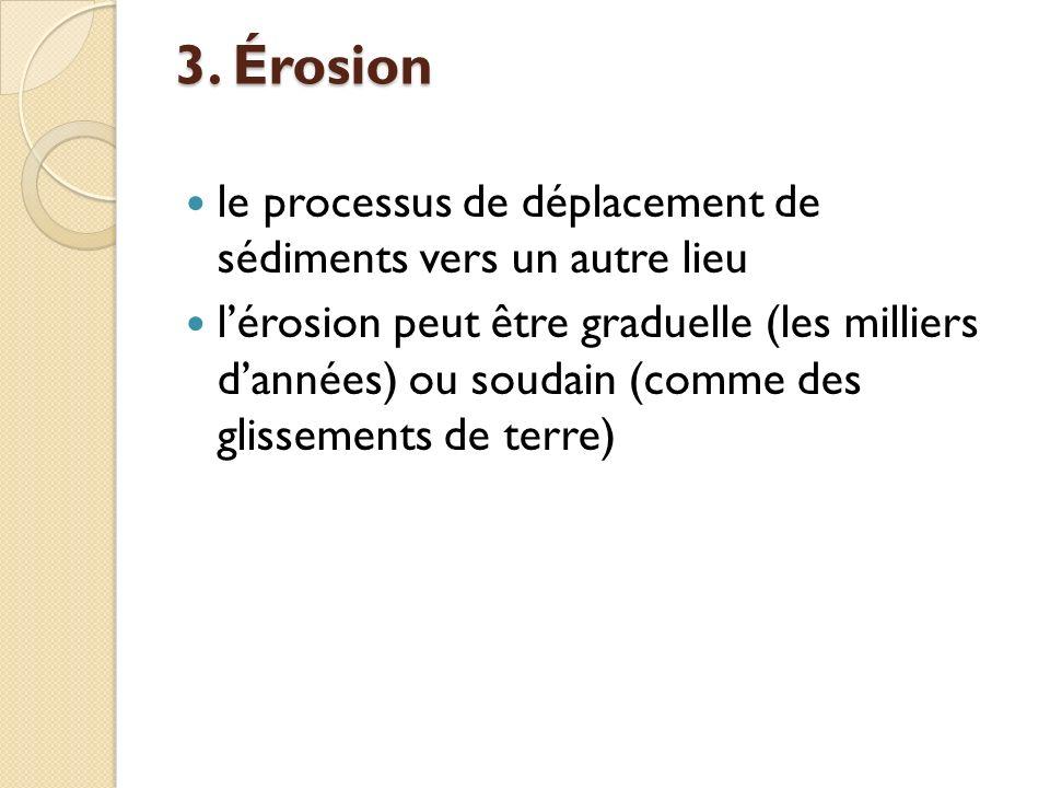 3. Érosion le processus de déplacement de sédiments vers un autre lieu