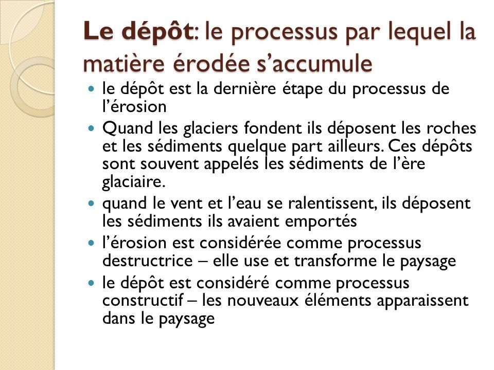 Le dépôt: le processus par lequel la matière érodée s'accumule