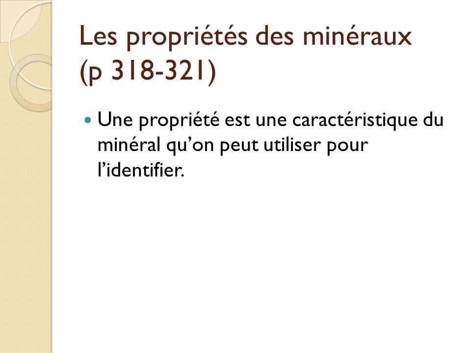 Les propriétés des minéraux (p 318-321)