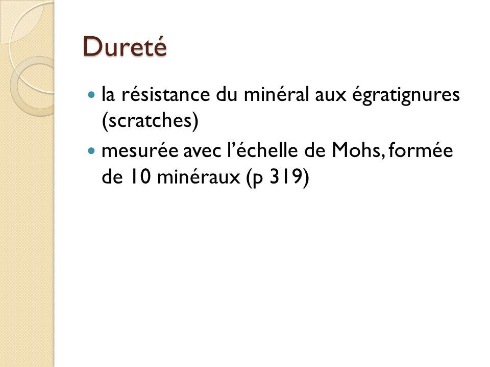 Dureté la résistance du minéral aux égratignures (scratches)