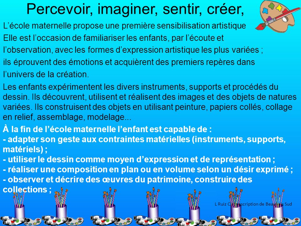 Percevoir, imaginer, sentir, créer,