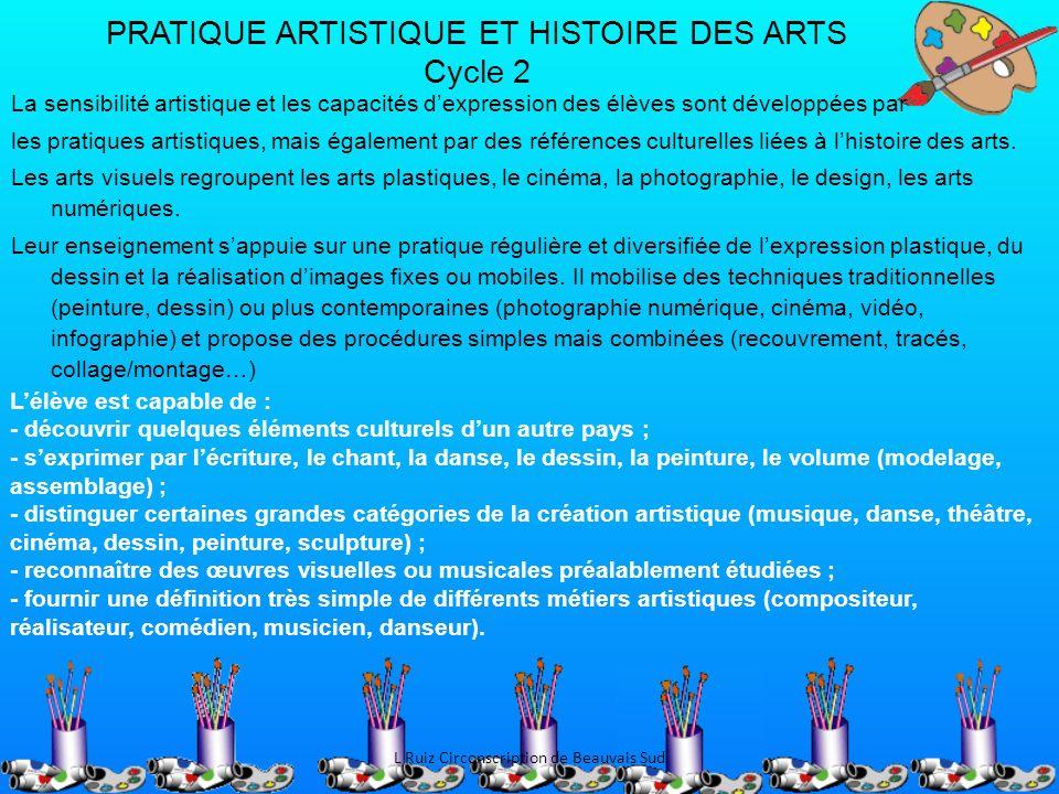 PRATIQUE ARTISTIQUE ET HISTOIRE DES ARTS Cycle 2