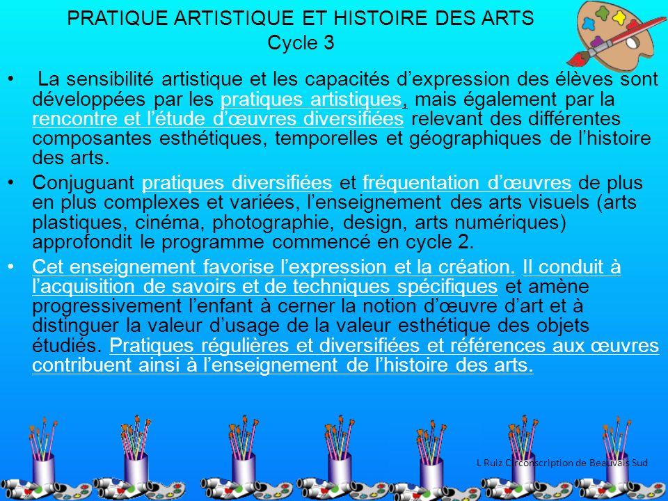 PRATIQUE ARTISTIQUE ET HISTOIRE DES ARTS Cycle 3