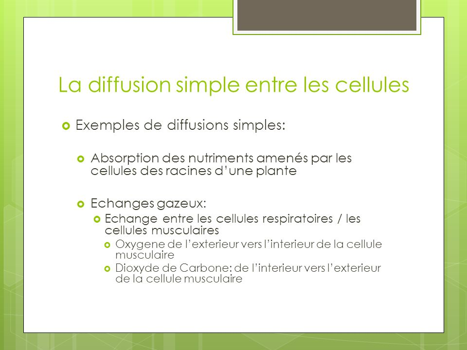 La diffusion simple entre les cellules