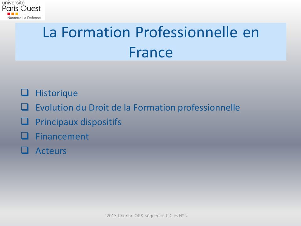 La Formation Professionnelle en France