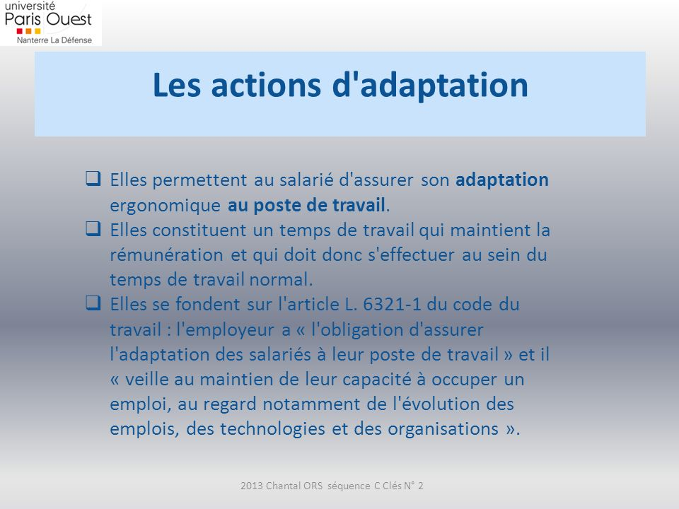 Les actions d adaptation