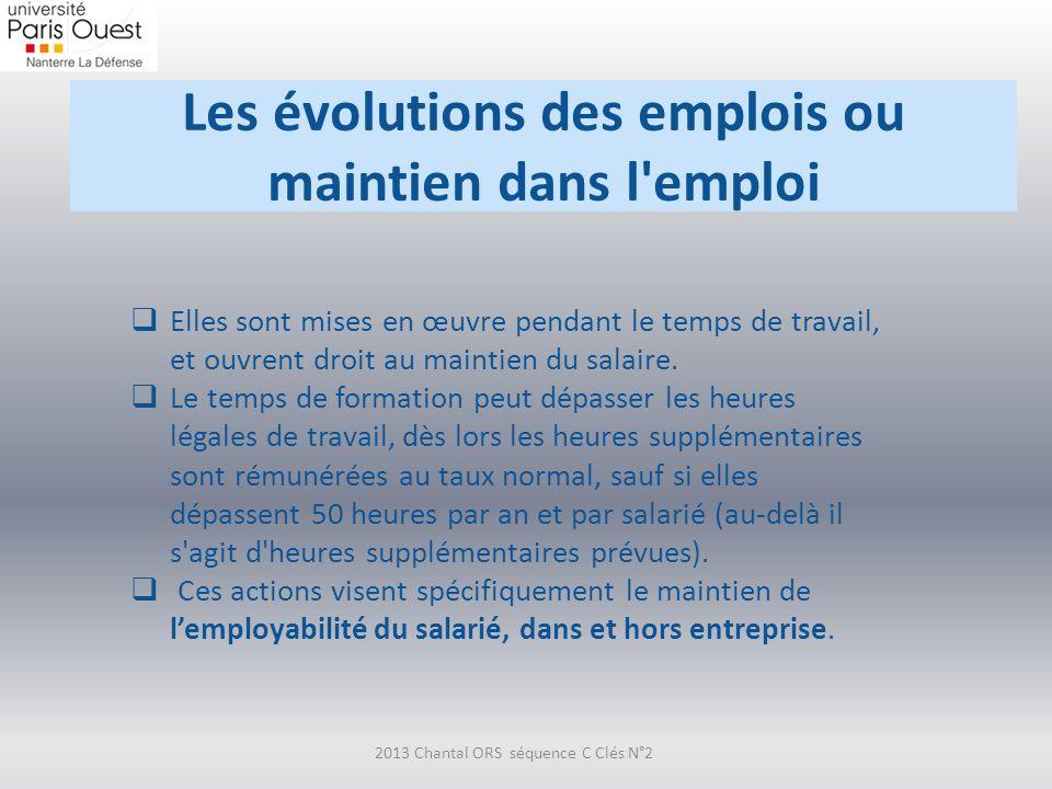 Les évolutions des emplois ou maintien dans l emploi