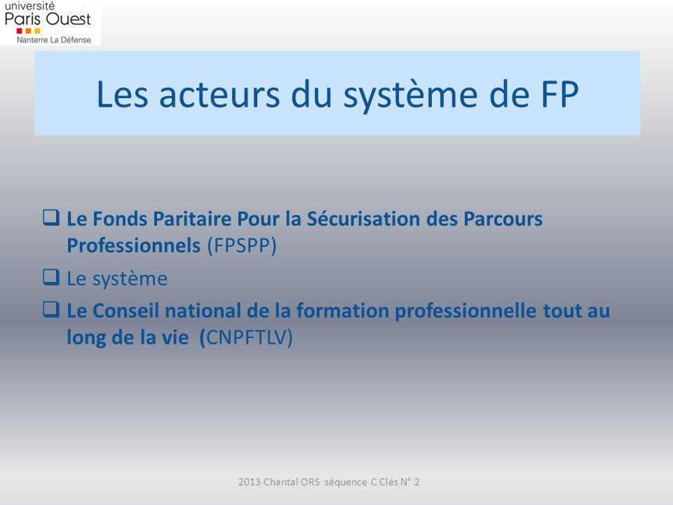 Les acteurs du système de FP