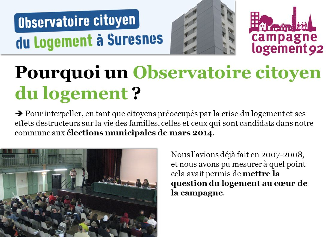 Pourquoi un Observatoire citoyen du logement