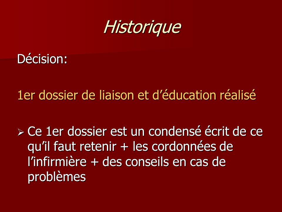 Historique Décision: 1er dossier de liaison et d'éducation réalisé