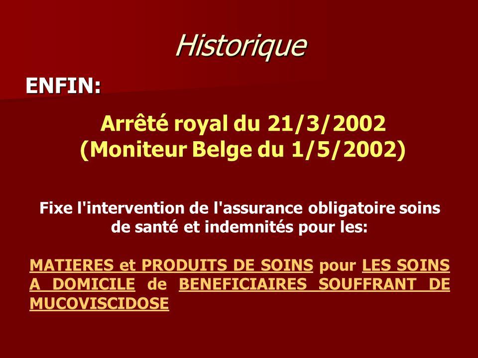 Arrêté royal du 21/3/2002 (Moniteur Belge du 1/5/2002)