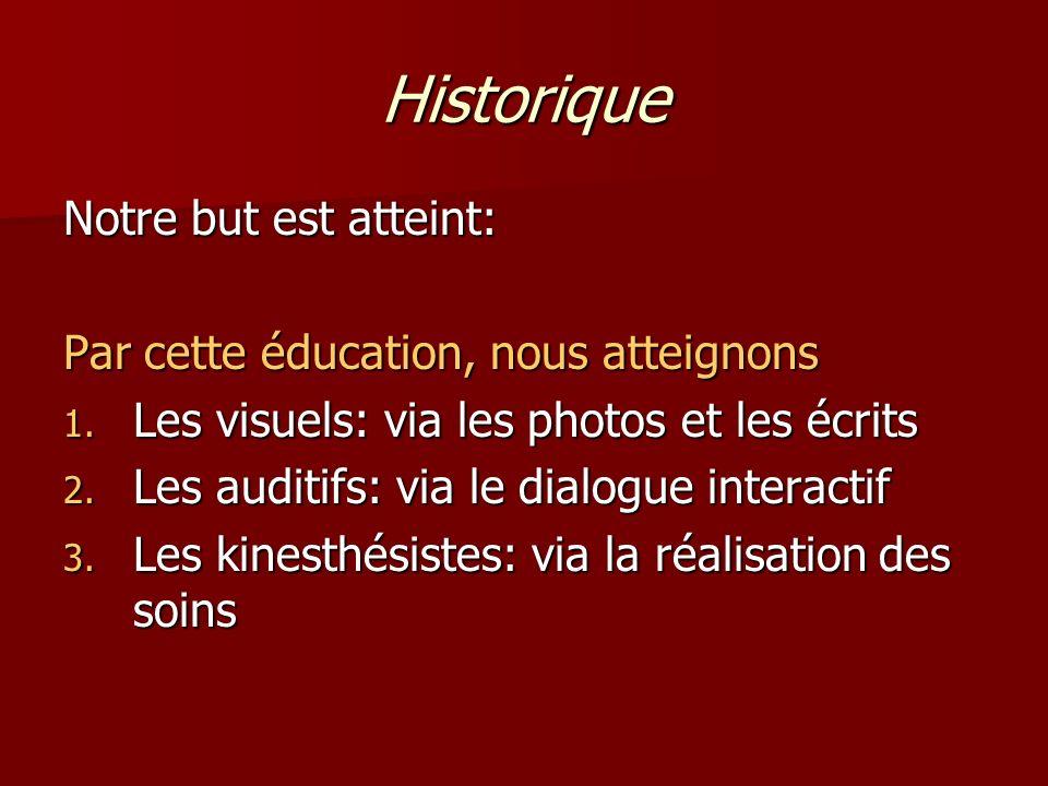 Historique Notre but est atteint: Par cette éducation, nous atteignons