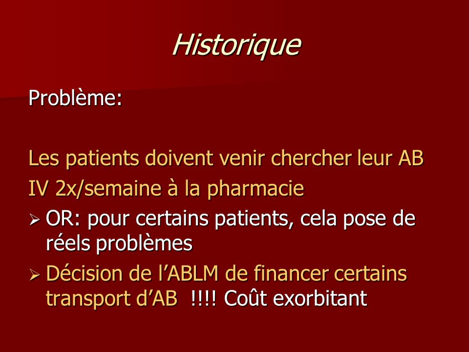 Historique Problème: Les patients doivent venir chercher leur AB