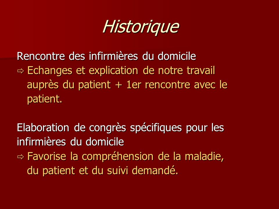 Historique Rencontre des infirmières du domicile