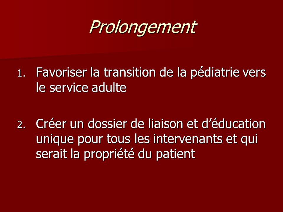 Prolongement Favoriser la transition de la pédiatrie vers le service adulte.