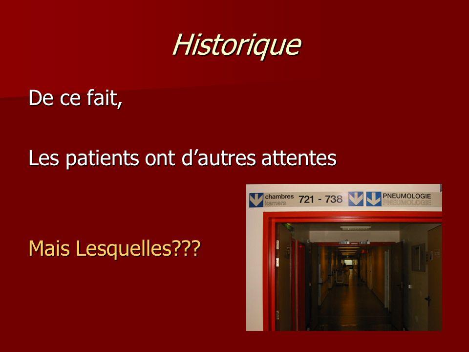 Historique De ce fait, Les patients ont d'autres attentes