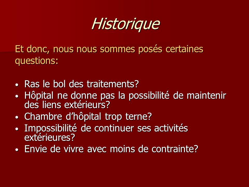 Historique Et donc, nous nous sommes posés certaines questions: